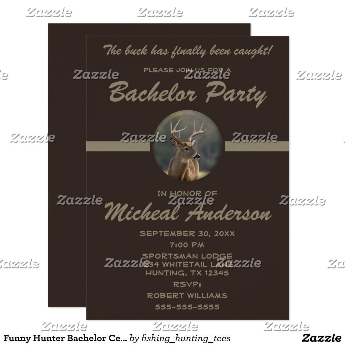 Funny Hunter Bachelor Celebration Invitation Bachelor Party