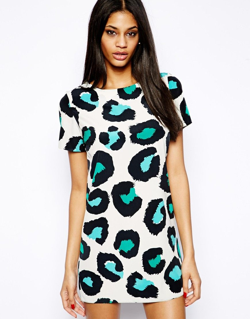 John Zack Shift Dress In Colourful Leopard Print | Mon Genre de ...