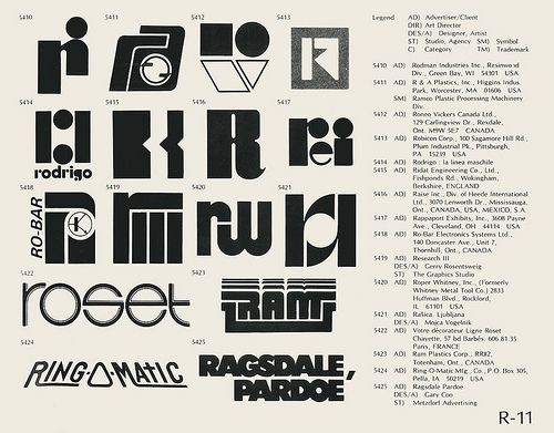 R-11  Collection of vintage logos from a mid-70's edition of the book World of Logotypes.