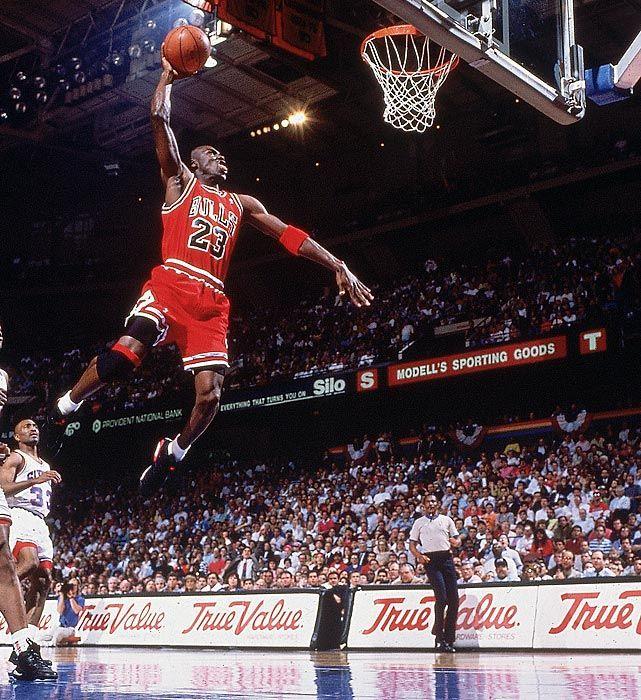 SIs 100 Best Michael Jordan Photos Flies To The Rim For A Dunk Against Philadelphia 76ers
