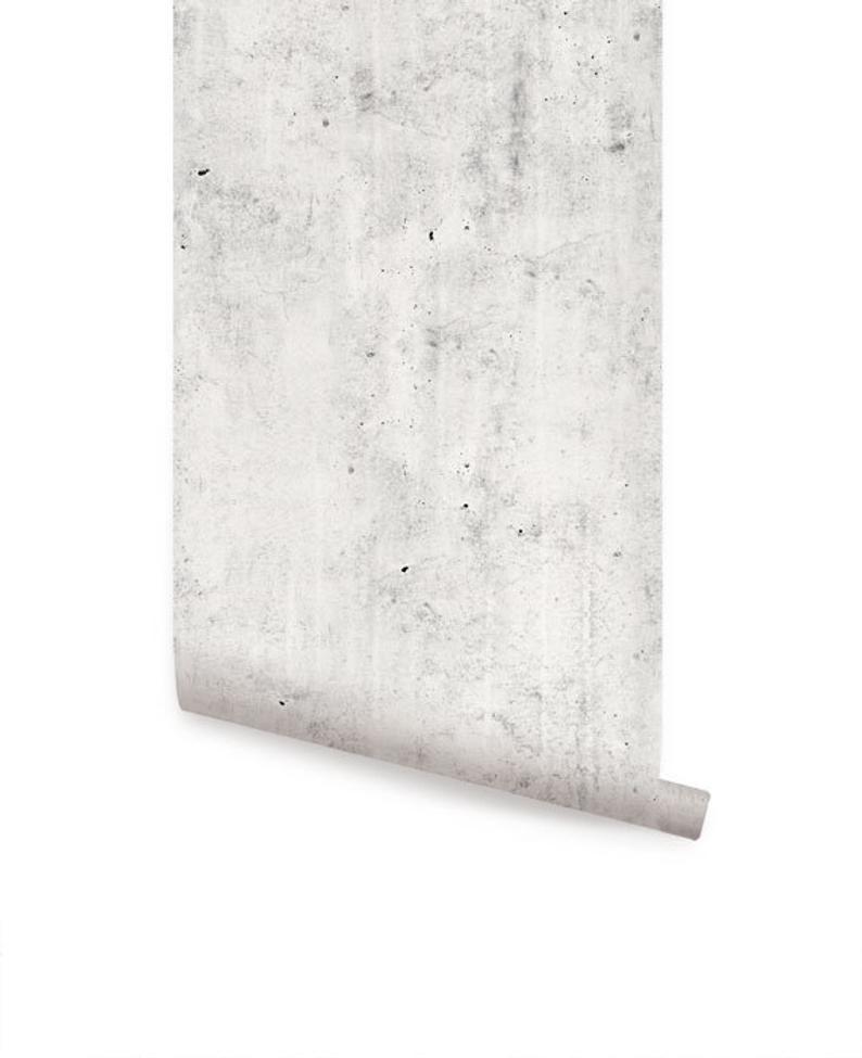 Cement Concrete Light Grey Peel Stick Fabric Wallpaper Repositionable Concrete Light Concrete Wallpaper Fabric Wallpaper