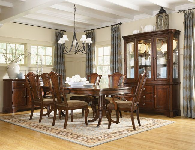 The Furniture  Traditional Dining Room Set With Pedestal Table Fascinating Traditional Dining Room Set Inspiration Design