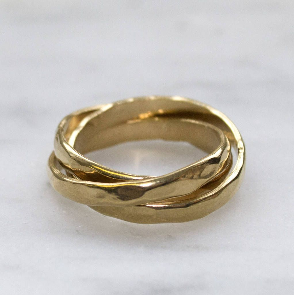 Gold hammered russian wedding ring in 2020 gold rings