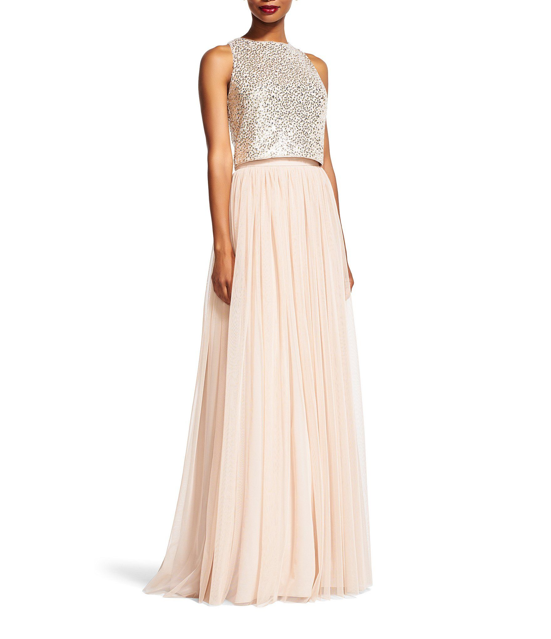 Shop for Adrianna Papell Two-Piece Sequined Halter Top Pleated Tulle ...