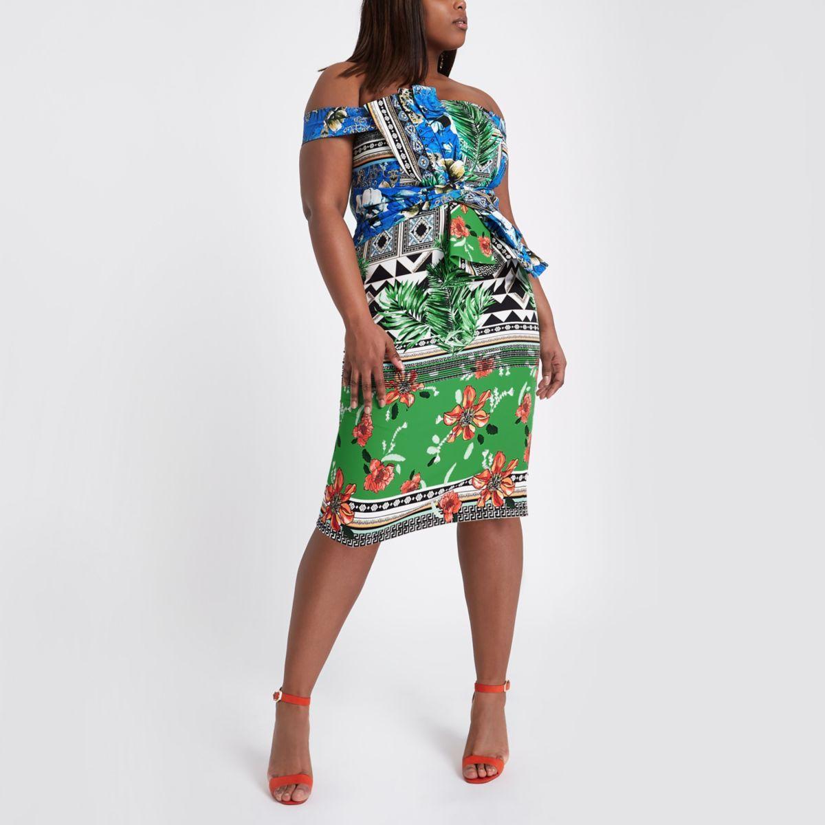 6d5bd1cca8 Plus green scarf print bardot bodycon dress