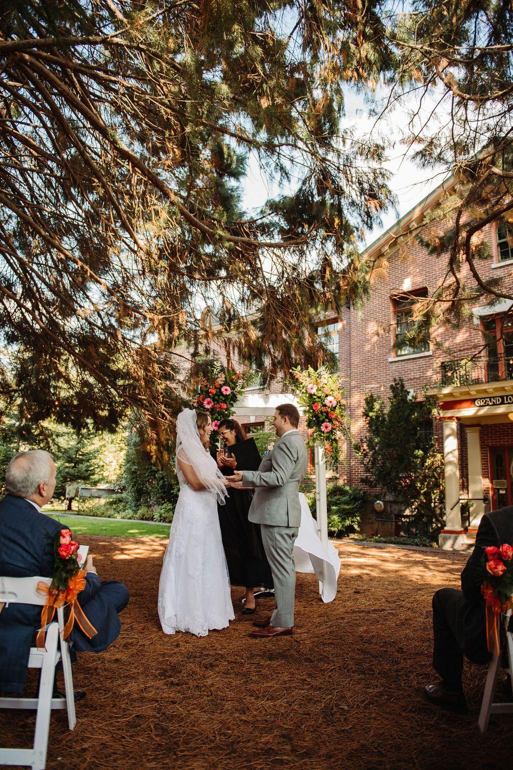 Outdoor wedding venue at McMenamins Grand Lodge in Forest