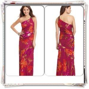 Aidan Mattox Dresses & Skirts - Floral Print Single-Shoulder Gown