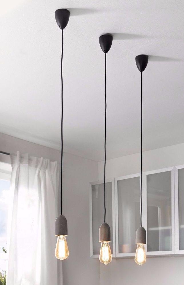 Wohnaccessoires modern  Pendelleuchte modern Beton-Optik Lampe Beton 229564 | eBay ...