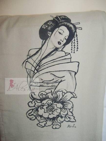 Gueixa e pe nia novo desenho para pintura em camisetas - Pintura para camisetas ...
