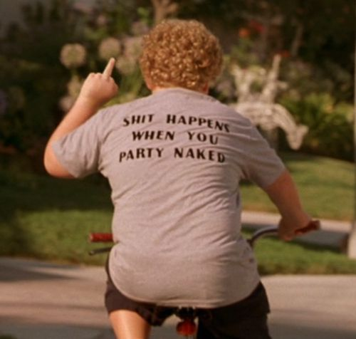 S#IT HAPPENS WHEN YOU PARTY NAKED T-SHIRT joke funny