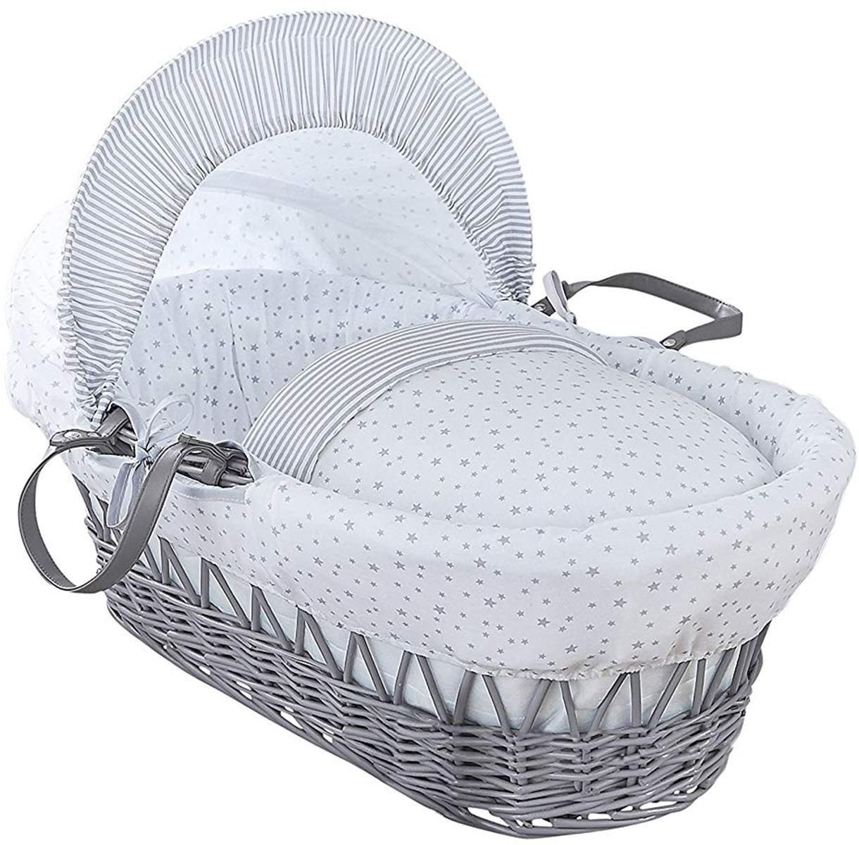 mattress /& adjustable hood Clair de Lune Stars and Stripes White Wicker Moses Basket inc Pink bedding