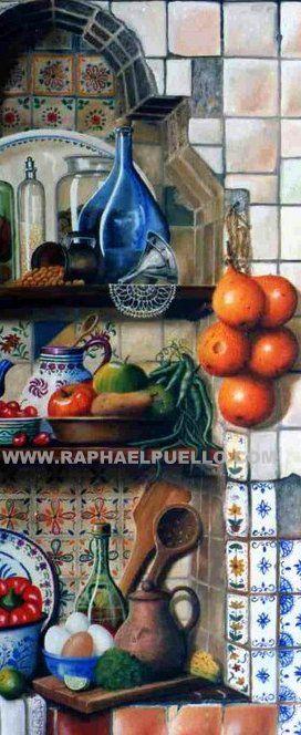 COCINA CRIOLLA.{ DETALLE} WWW.RAPHAELPUELLO.COM/OLEO/NATURALEZAS MUERTAS/ANAQUELES