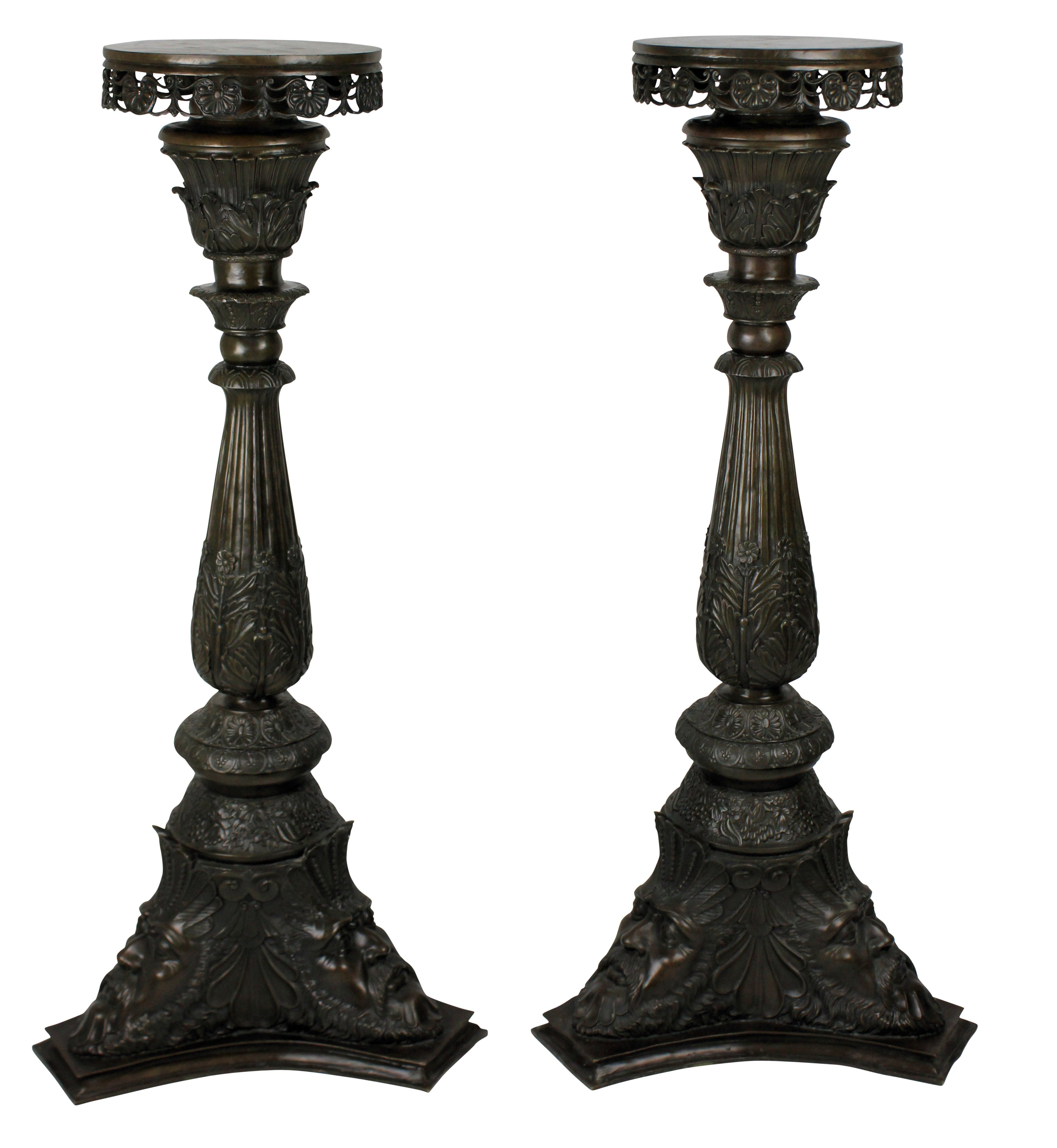 A rare and beautifully cast pair of Venetian bronze torchere, in the Classical manner. c.1880 Measures: 110cm high x 52cm diameter x 18cm diameter (tops)