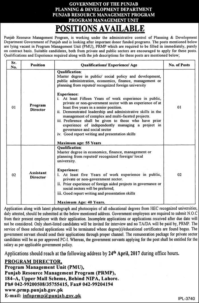 latest jobs in Planning And Development Department 2017 Jobs In
