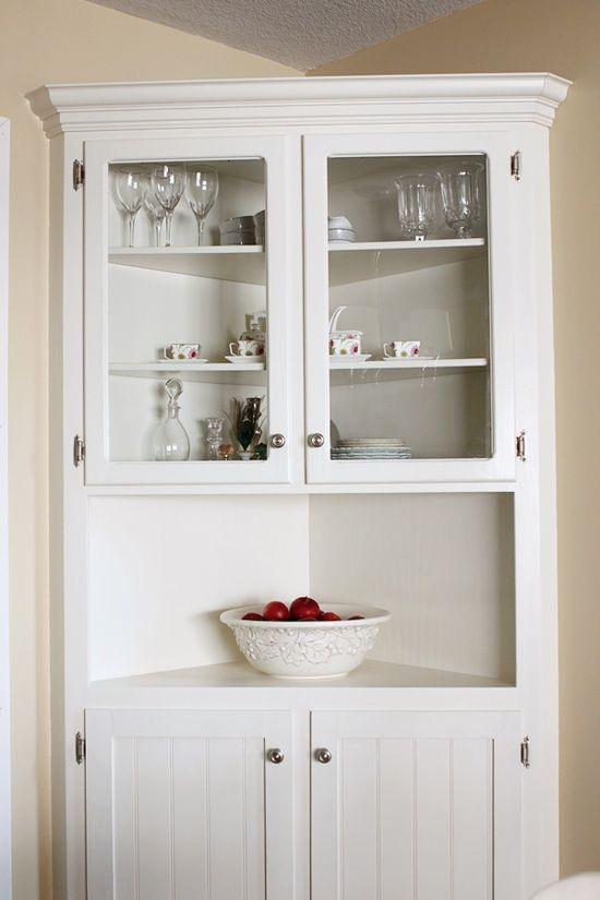 idea for dining area white farmhouse corner cabinet