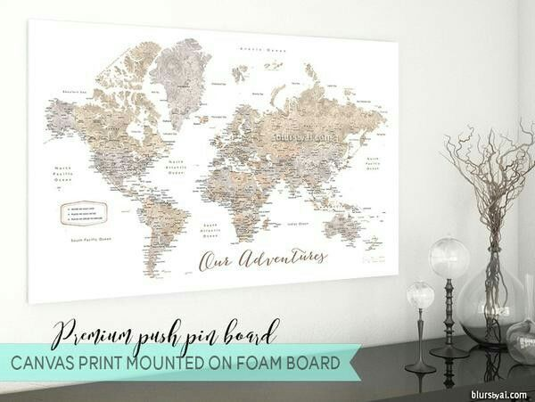 Anniversary gift husband gift travel lover gift push pin map anniversary gift husband gift travel lover gift push pin map push pin canvas pinboard map push pinboard travel pinboard world map pinboard gumiabroncs Image collections