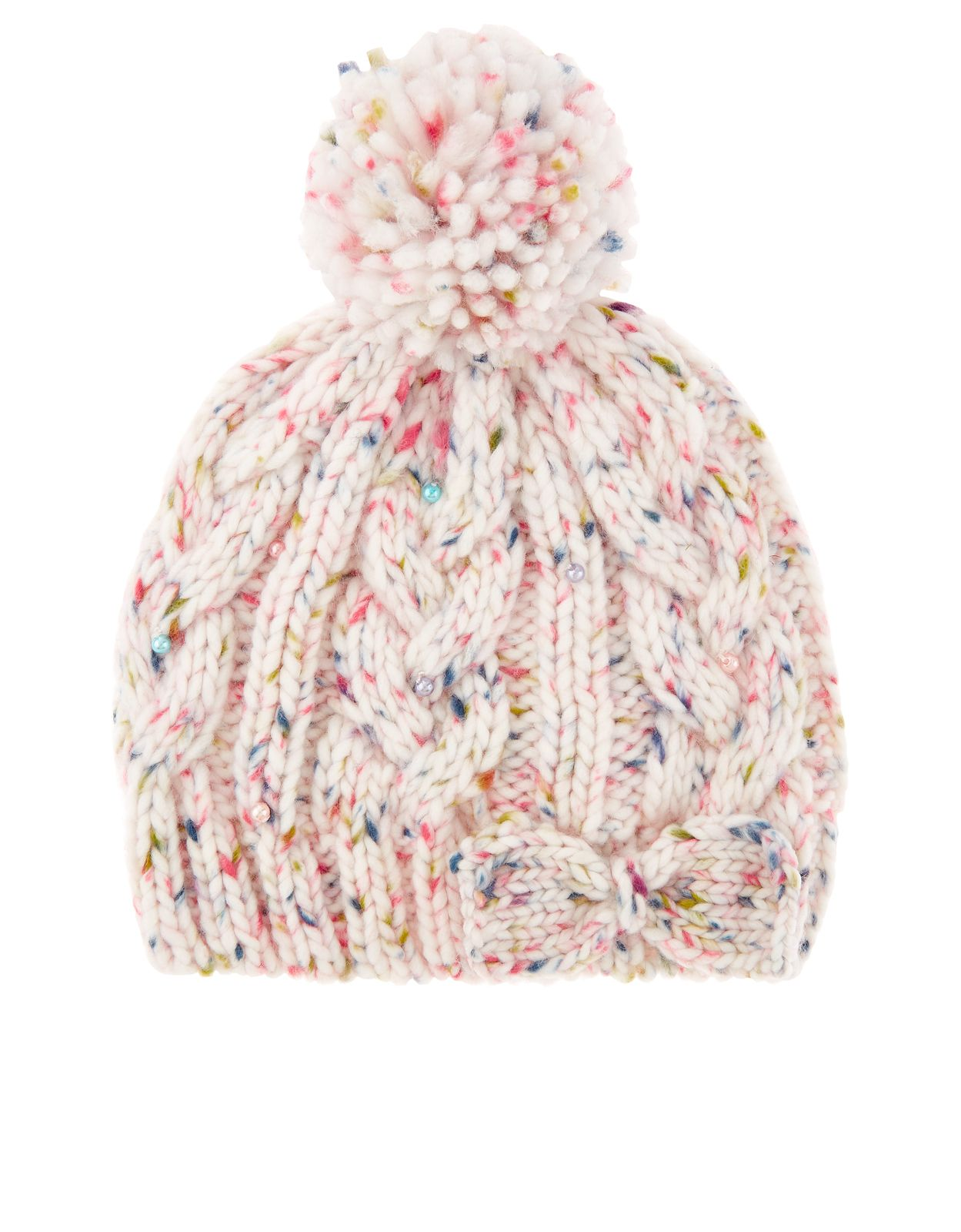 8d0eb038de4 Our cute and cosy speckled beanie hat for girls is decorated with a 3D bow  appliqué