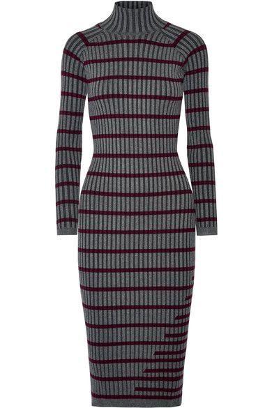 Alexanderwang T Striped Ribbed Stretch Knit Midi Dress