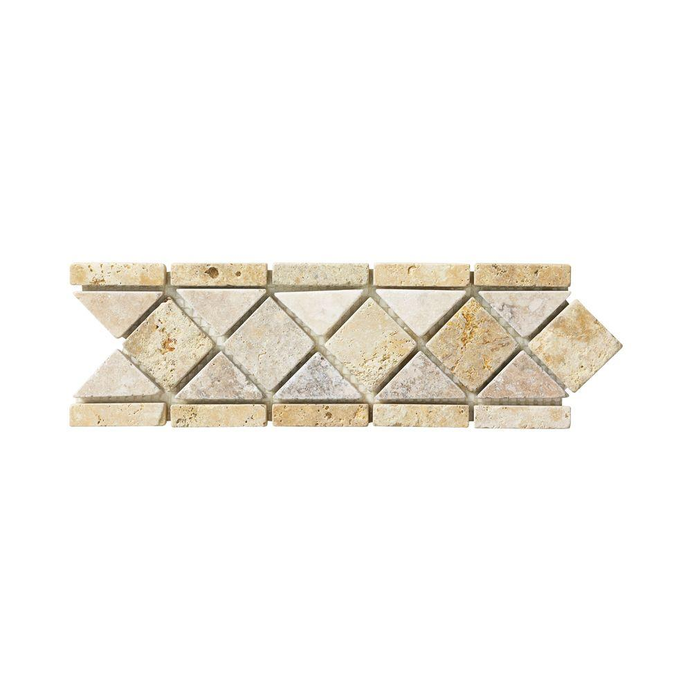 Jeffrey court venezia 3 in x 12 in travertine floor wall for Travertine accent tile