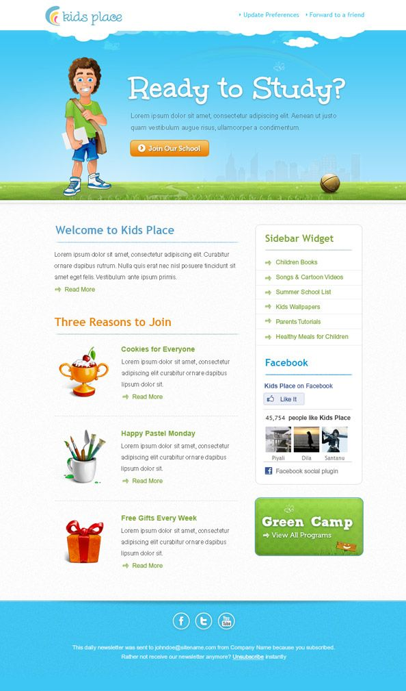 Kids newsletter template made especially for businesses related to - free email newsletter templates word