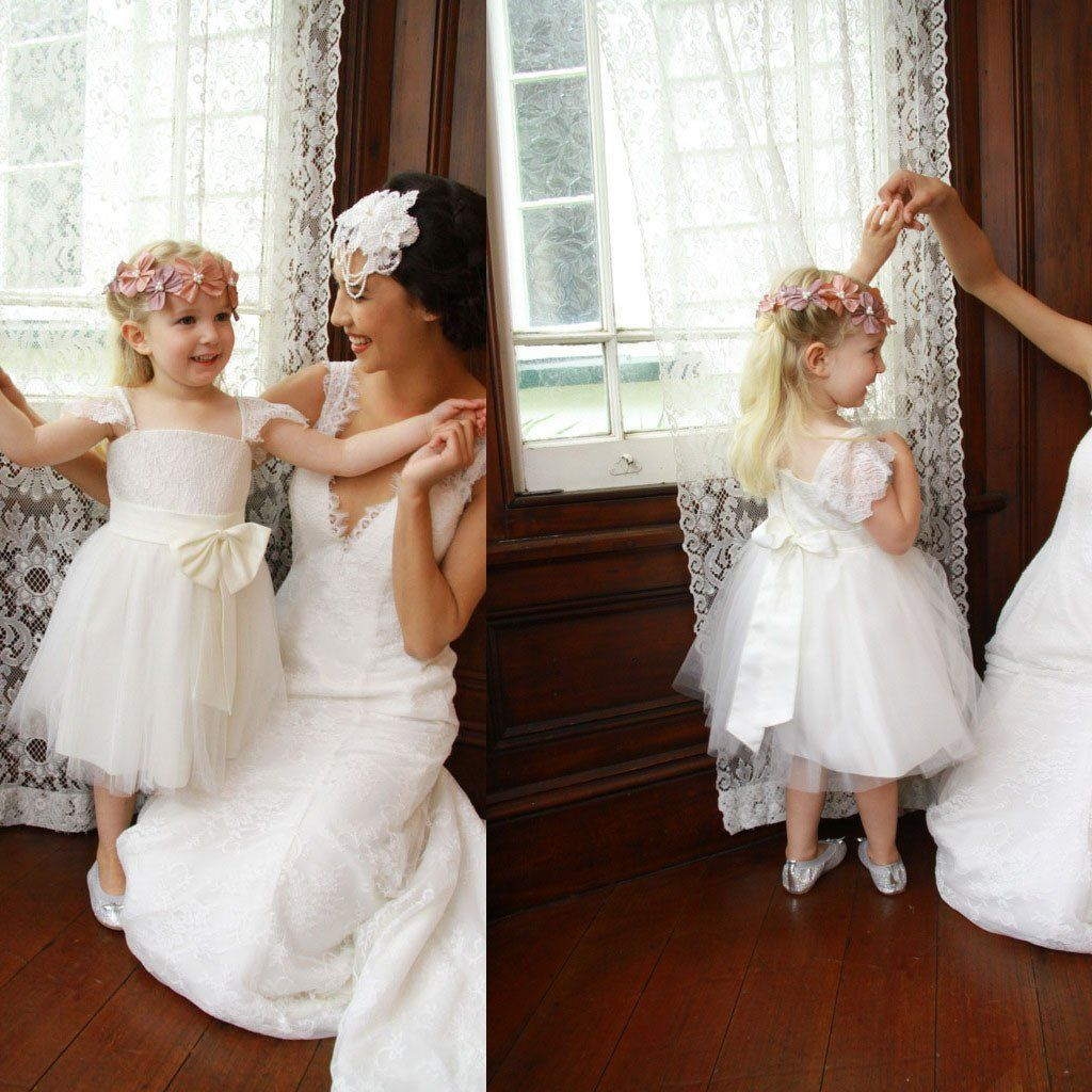 Cap sleeve ivory princess aline lace tulle flower girl dresses with