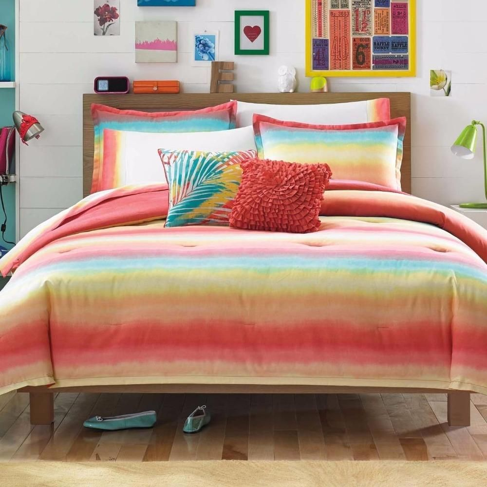 Coral Aqua Turquoise Orange Yellow Ombre Cotton Teen Comforter Shams Set T  F/Q #Bedding