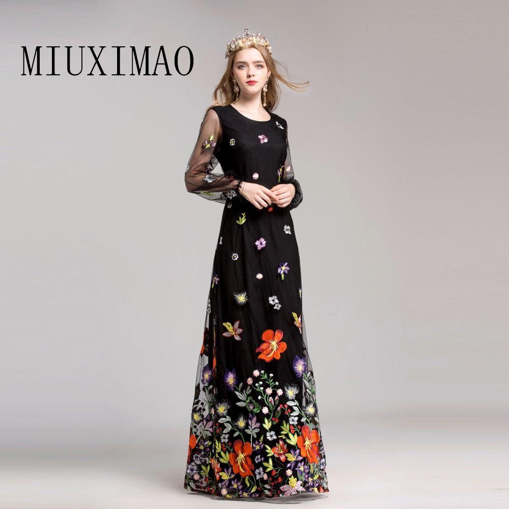 Puff sleeve long sleeve embroidery elegant floorlength floral print