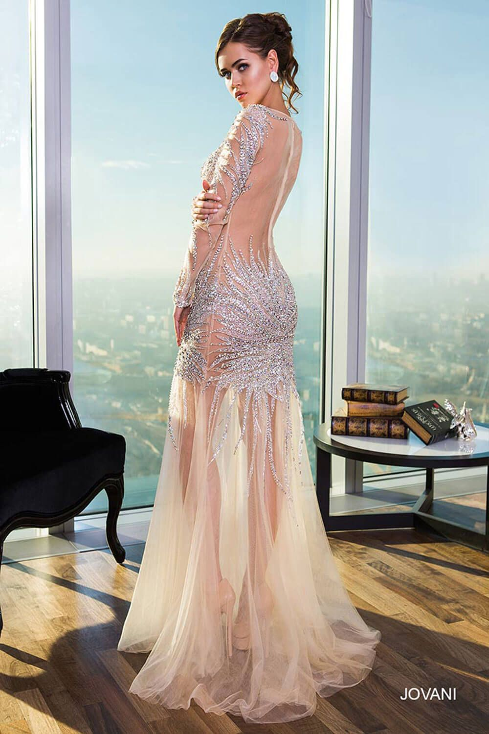 Long Sleeve Nude Gown 21697 - Evening Dresses