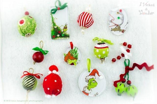 diy grinch christmas decorations 2015 diy ornaments ideas grinch whoville christmas ornament set