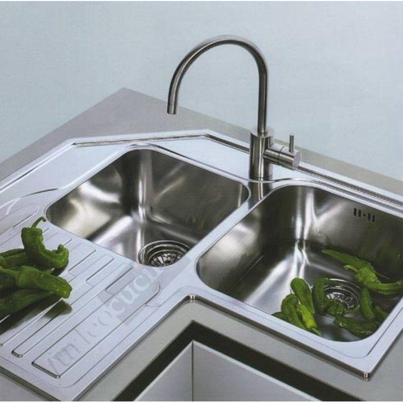 Franke lavello angolo incasso angolare acciaio inox ala for Lavello cucina angolare