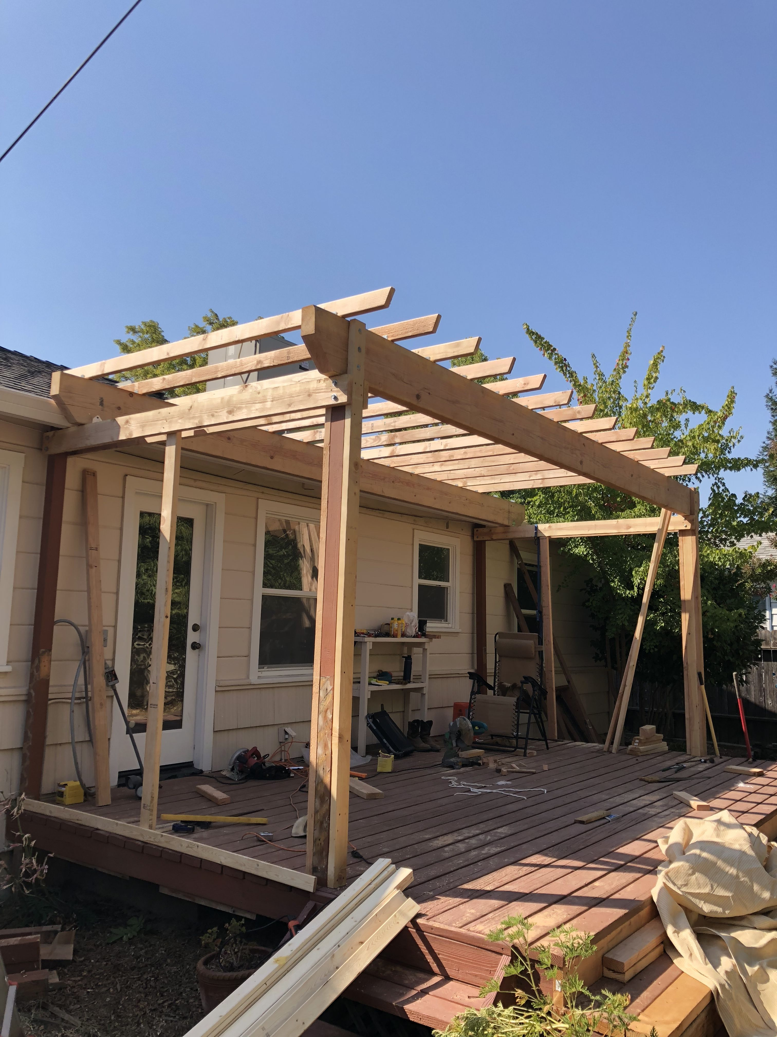how to build a pergola on a deck uk
