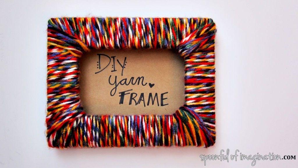 Diy Yarn Picture Frame Spoonful Of Imagination Yarn Diy Diy