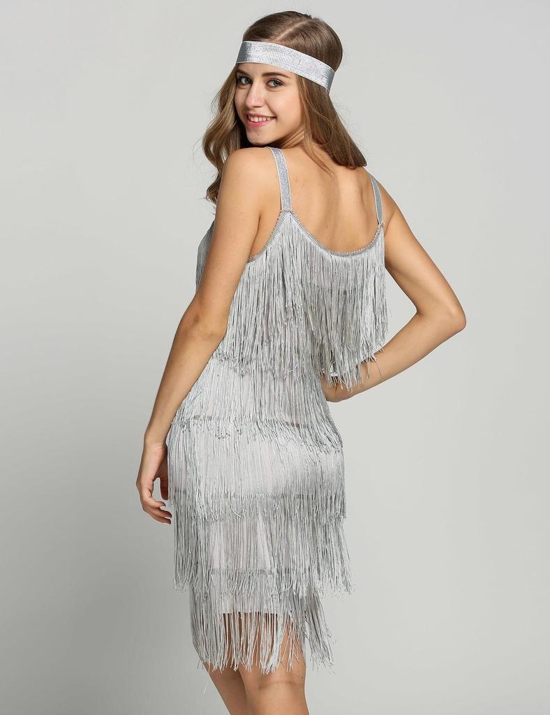 Belted Gray 1920s Fringe Gatsby Dress | Pinterest