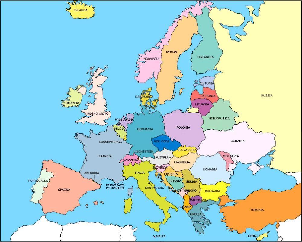 Cartina Europa Da Stampare Formato A4.Europa Territorio E Stati Del Continente Gestione