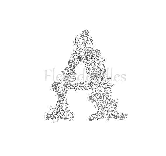 adult coloring page - floral letters, alphabet A, hand lettering ...