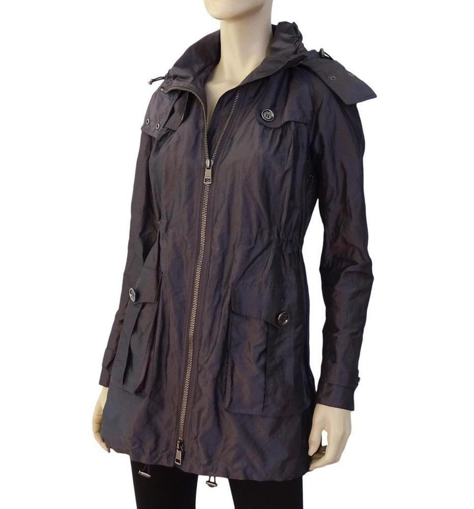Burberry Brit Madleigh Metallic Purple Parka Jacket W Detach Hood 6uk 4us 750 Parka Jacket Jackets For Women Jackets