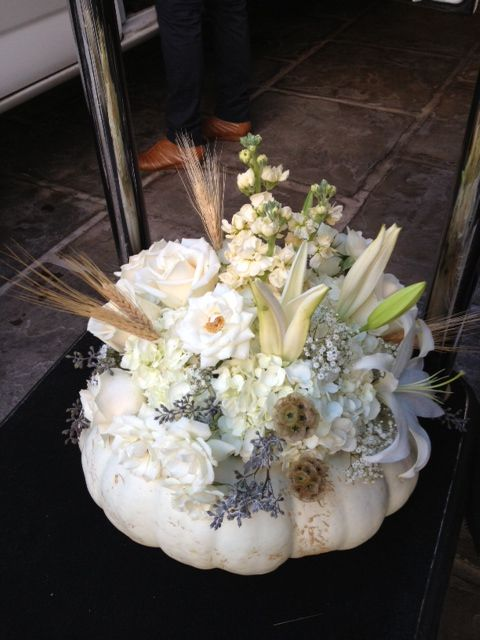 White Pumpkin filled with flowers! Perfect for many Holiday occasions!