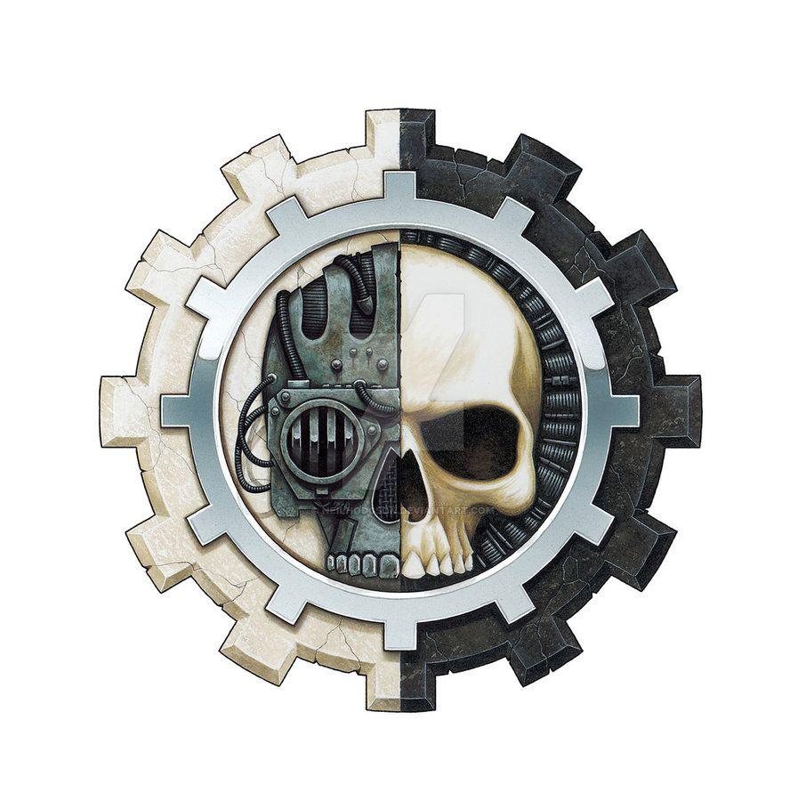 Adeptus Mechanicus Icon By Neil Hodgson Warhammer Warhammer 40k Artwork Warhammer 40k [ 882 x 906 Pixel ]