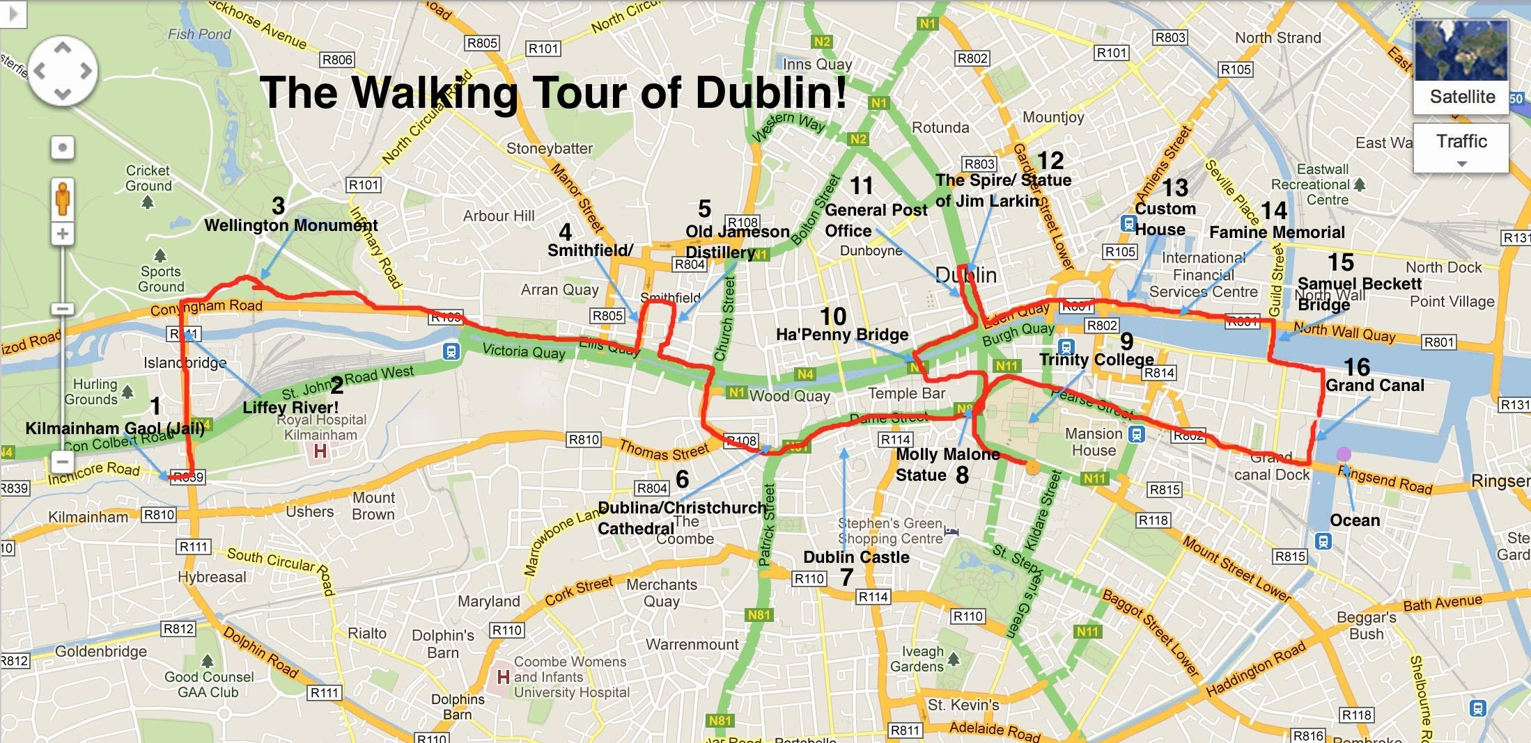 city tourist map of dublin, ireland | Walking Tour of Dublin Pt. 2 ...