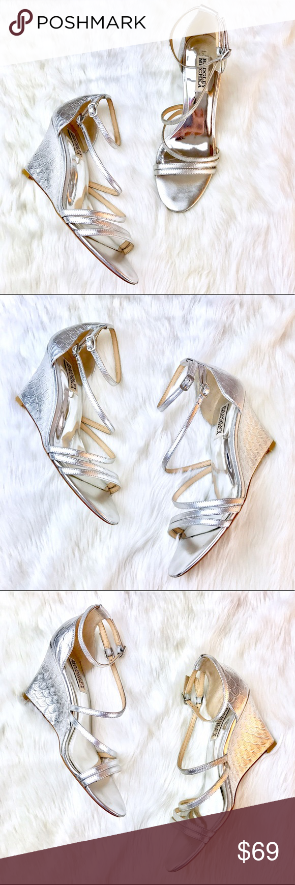 9740fca0a Badgley Mischka Carnation II Wedge Sandal Gorgeous metallic leather wedge  sandal with crossover straps and a