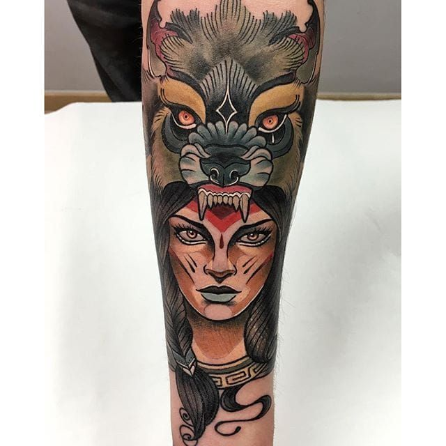 10 Bold Neo Traditional Animal Cowl Tattoos Wolf Tattoos Neo Traditional Headdress Tattoo