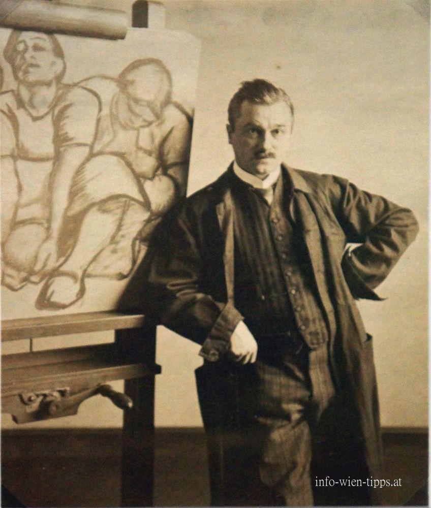 """The painter Albin Egger-Lienz in front of his draf Coming into """"Birth"""", 1913, Vienna, Leopoldmuseum _____________________________ Der Maler Albin Egger-Lienz ivor seinem Entwurf Werden""""Geburt"""""""
