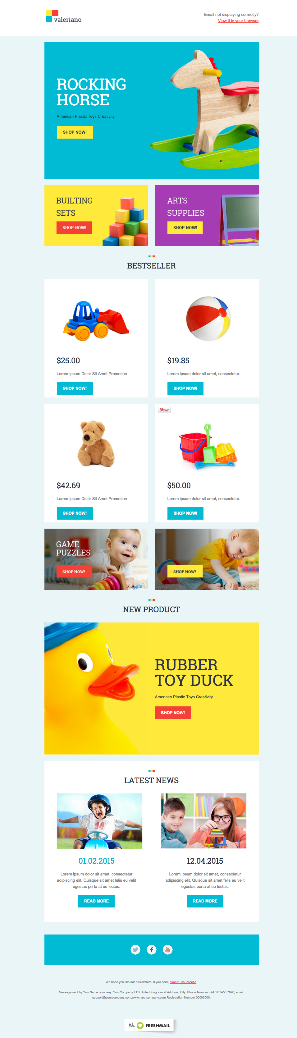 Toys for kids logo  Toys for kids ecommerce newsletter template for free FreshMail