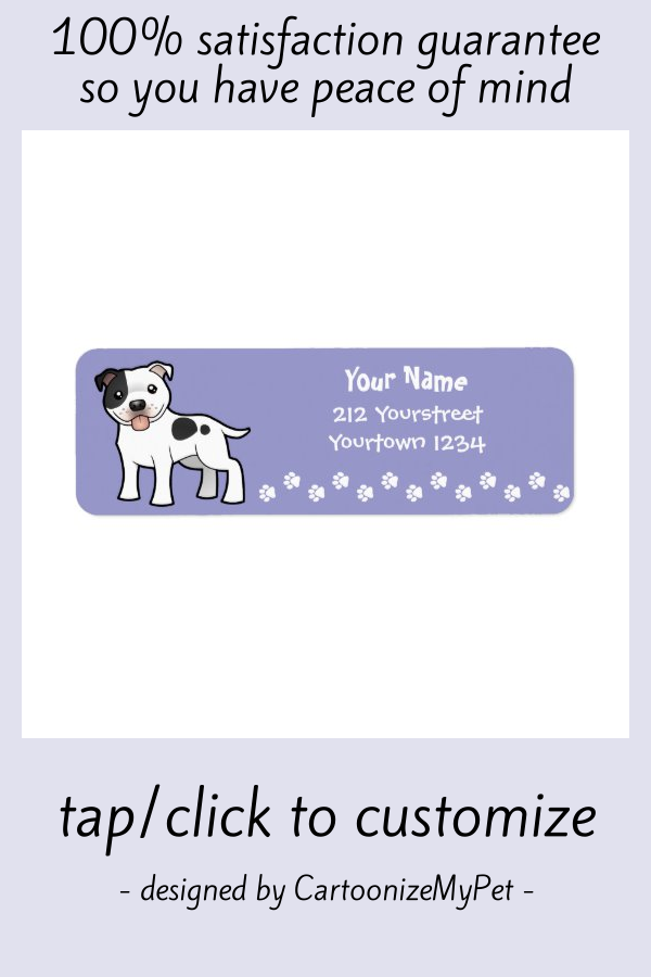 Cartoon Staffordshire Bull Terrier Label #american #staffordshire #terrier #pitbull #pit #Label