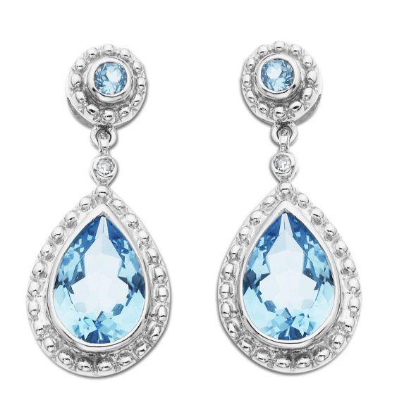 0f4ae1eb00cf8 14k White Gold Blue Topaz and Diamond Drop Earrings: Jewelry: Amazon ...