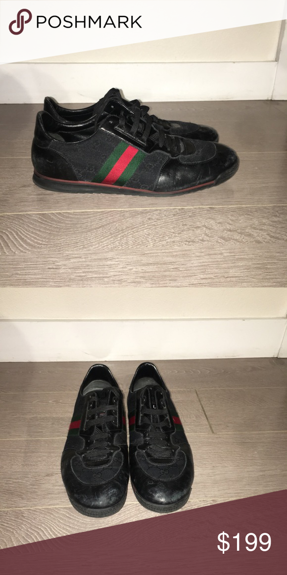 39243070636 Limited Edition Men s Gucci Shoes Authentic Gucci Men s size 11 black  sneaker with Gucci stripe. Great condition. Comes with duster. Gucci Shoes  Sneakers