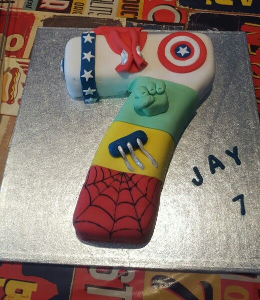 Marvel Avengers Number 7 Cake Dakotas Birthday Party Pinterest
