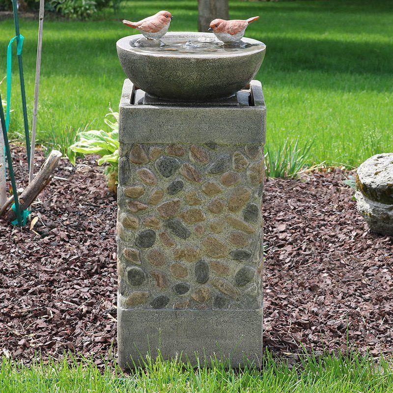 Sunnydaze Decor Birdbath Basin On Pedestal Outdoor Garden Water Fountain Wnc 912 Water Fountains Outdoor Bird Bath