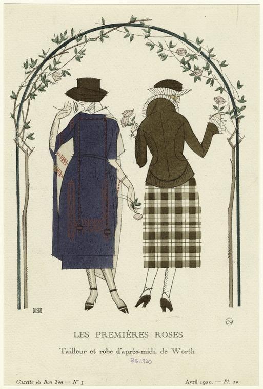 Les premières roses : tailleur et robe d'après-midi, de Worth. (1920)