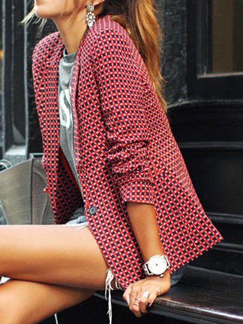 Red Lapel Gingham Print Long Sleeve Slim Blazer | Choies